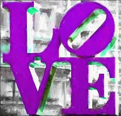 Philadelphia Scene Digital Art - Love Philadelphia Purple Digital Art by Terry DeLuco