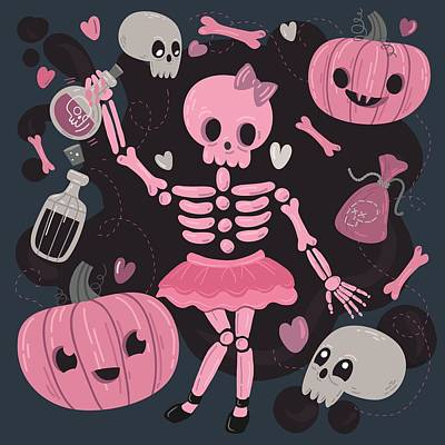 Potions Painting - Love Potion Skeleton Dance by Little Bunny Sunshine