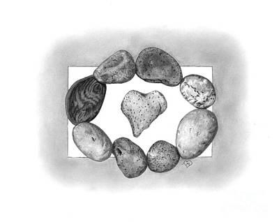 Heart Stone Drawing - Love Rocks by Becky Eileen