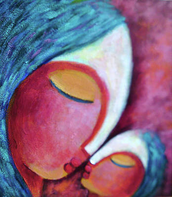 Abstract Mother And Child Painting - Love by Sangeeta Charan