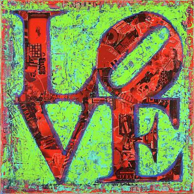 Love Sculpture - Philadelphia Pennsylvania - Pop Art Collage Original by Damon Gray