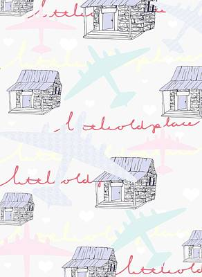 Repeating Digital Art - Love Shack by Beth Travers