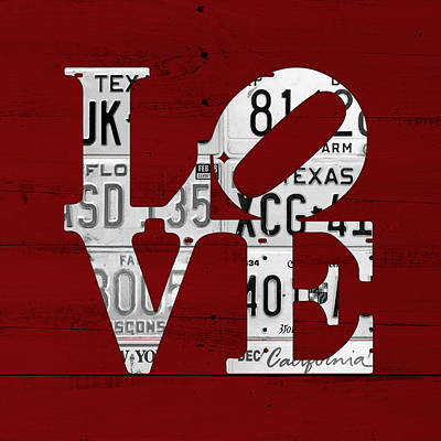 Love Sign Vintage License Plates On Red Barn Wood Art Print by Design Turnpike