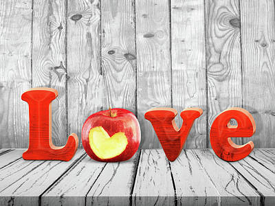 Photograph - Love Sign With Red Apple by Mihaela Pater