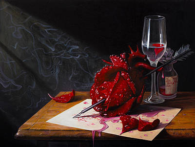 Oil Paining Painting - Love Slowly Kills II by Adrian Borda