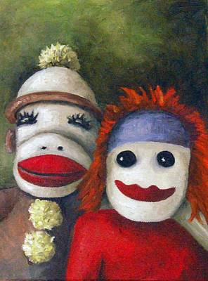 Sock Monkey Painting - Love Socks by Leah Saulnier The Painting Maniac