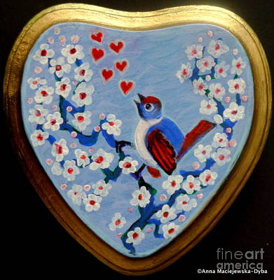 Folkartanna Painting - Love Song Folk Heart by Anna Folkartanna Maciejewska-Dyba