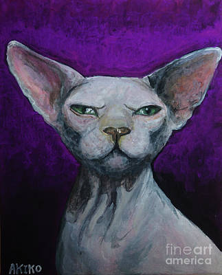 Sphynx Cat Painting - Love Sphynx Cat by Akiko Okabe