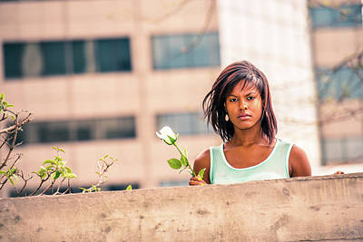 Photograph - Love Story About African American Woman Missing You With White R by Alexander Image
