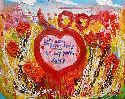 Painting - Love Story Flower Garden by Gh FiLben
