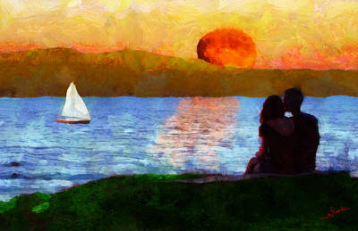 Sunset Painting - Love Sunset by George Rossidis
