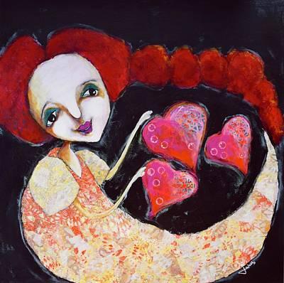 Wall Art - Mixed Media - Love, Sweet Love by Jen Walls