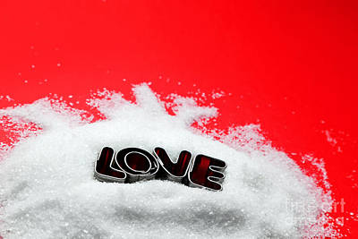 Chrome Photograph - Love Text Message From Cookie Form Letters On Sugar And Red Background by Michal Bednarek