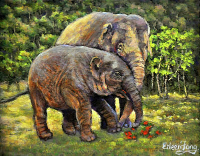 Painting - Love The Elephants by Eileen  Fong