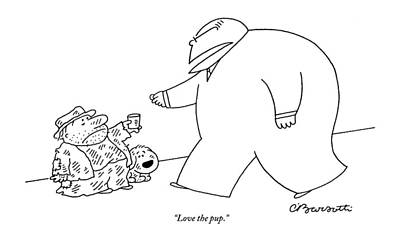 Compassion Drawing - Love The Pup by Charles Barsotti