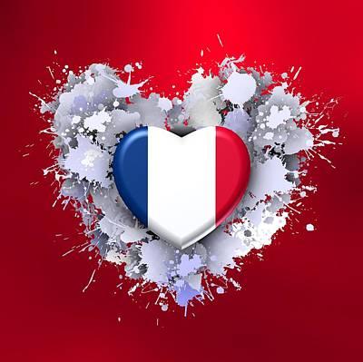 Patriot Digital Art - Love To France Ovr Red by Alberto RuiZ
