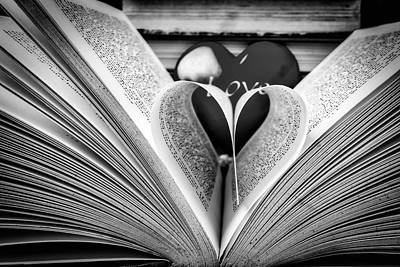 Photograph - Love To Read Books In Black And White by Garry Gay