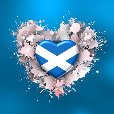 Heart Digital Art - Love To Scotland Over Blue by Alberto RuiZ