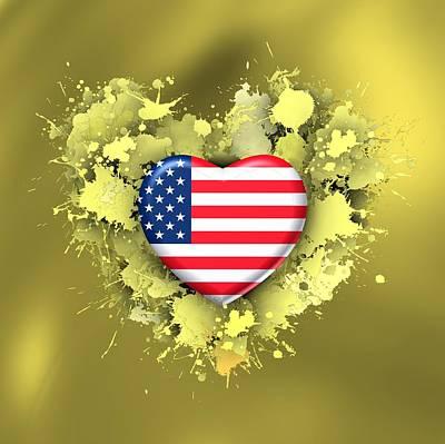 Flag Digital Art - Love To Usa Over Gold by Alberto RuiZ