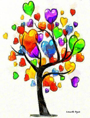Flower Digital Art - Love Tree 1 - Da by Leonardo Digenio