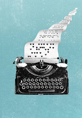 Digital Art - Love Typewriter Poster by IamLoudness Studio