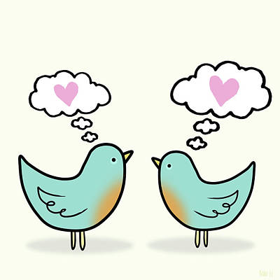 Lovebird Painting - Love Was In The Air by Little Bunny Sunshine
