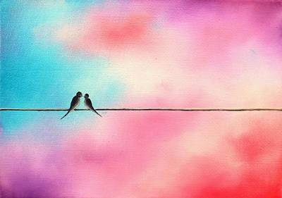 Birds On A Wire Painting - Love Will Keep Us by Rachel Bingaman