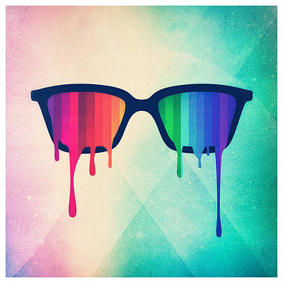 Trippy Digital Art - Love Wins Rainbow - Spectrum Pride Hipster Nerd Glasses by Philipp Rietz
