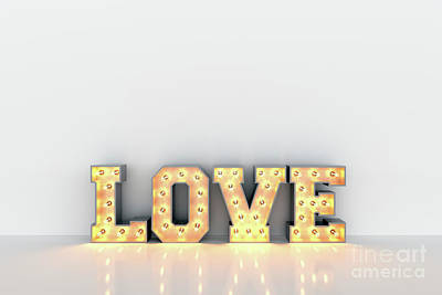 Photograph - Love Word With Light Bulbs Inside On White Clean Wall Background by Michal Bednarek