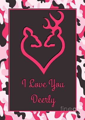 Digital Art - Love You Deerly Pink Camo by JH Designs
