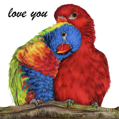 Parrot Drawing - Love You by Sarah Batalka