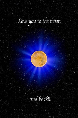 Photograph - Love You To The Moon - Blue Vertical by Lynn Bauer
