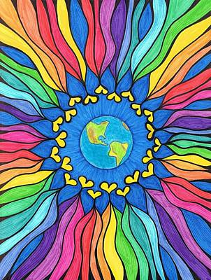 Chakra Rainbow Painting - Love Your Planet Mandala by Cheryl Fox