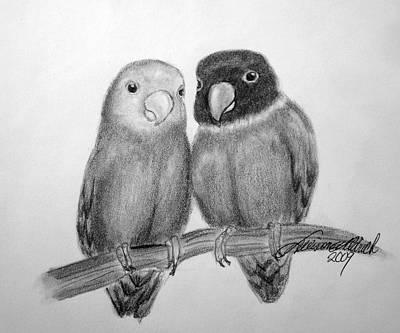 Lovebird Drawing - Lovebirds by Allison Aldrich