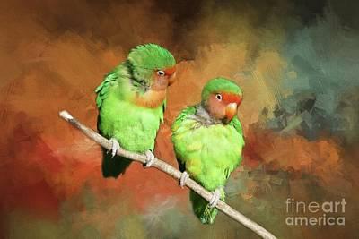 Mixed Media - Lovebirds by Eva Lechner