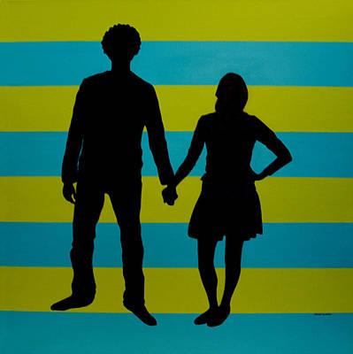 Lovebirds In Silhouette Art Print by Ramey Guerra