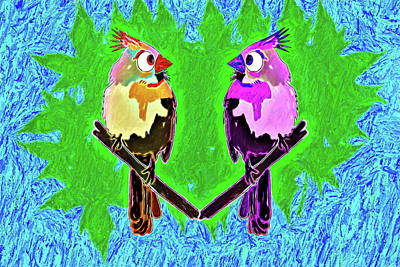 Digital Art - Lovebirds by John Haldane