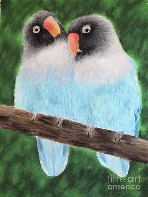 Lovebird Drawing - Lovebirds by Melissa Mancuso