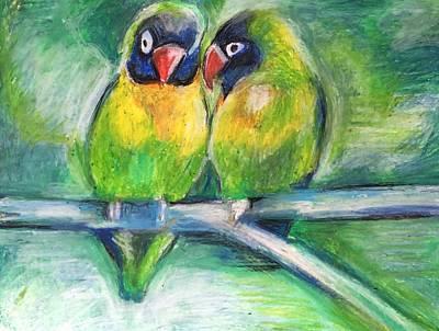 Lovebird Drawing - Lovebirds by Rosemary Bingay