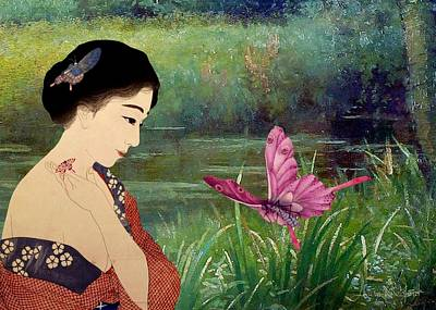 Japanese Digital Art - Loved By Butterflies by Laura Botsford