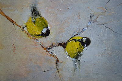 Painting - Lovely Chickadees by Igor Medvedev