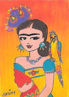Lovely Frida And Her Parrot Art Print by Karen Haring