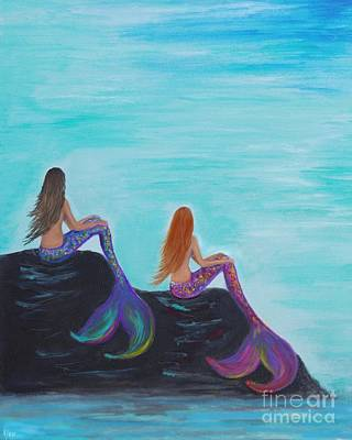 Painting - Lovely Mermaids by Leslie Allen