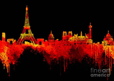 Abstract Beach Landscape Digital Art - Love Paris In Golden Night by Prar Kulasekara