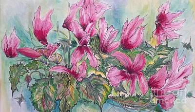 Cyclamen Painting - Lovely Pink Cyclamens by Angela Gannicott