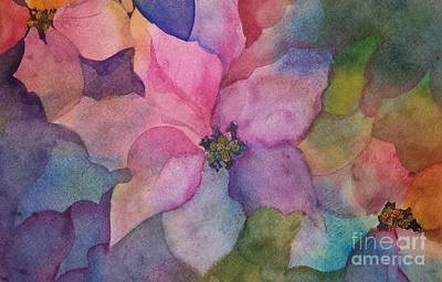 Wine Country Card Painting - Lovely Poinsettias by Lisa DeBaets
