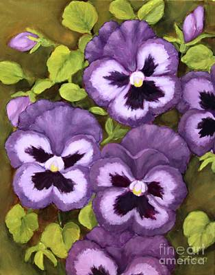 Painting - Lovely Purple Pansy Faces by Inese Poga