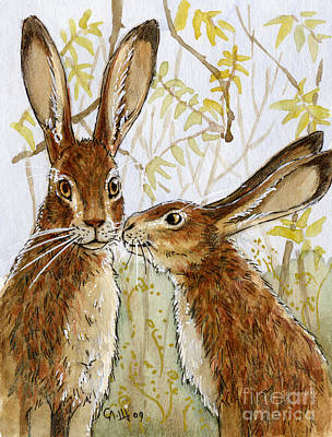 Lovely Rabbits - Little Kiss  Art Print by Svetlana Ledneva-Schukina