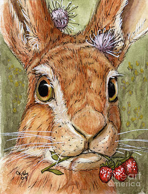 Lovely Rabbits - Wild Strawberry For My Darling Art Print