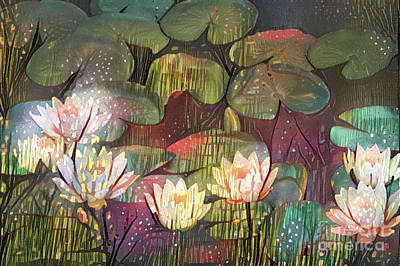 Lilies Digital Art - Lovely Waterlilies 3 by Amy Cicconi